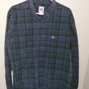 Lacoste Live Green Blue Dress Shirt